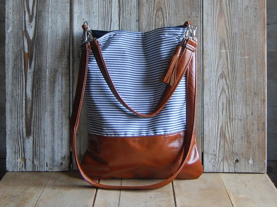 SALE ///  LUCIA TOTE /// brown leather and navy stripes