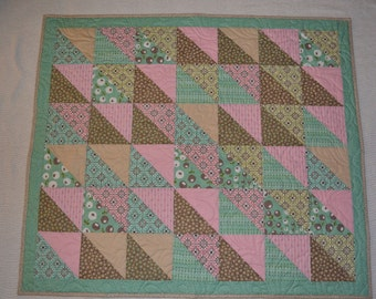 pink and green baby girl quilt