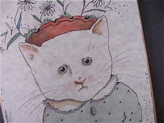 white cat art-  illustration- cut out wood- wall art- red hat- hello- daisies