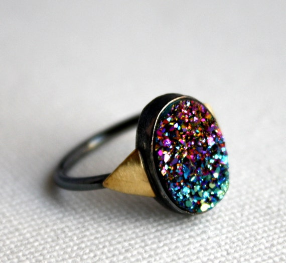 Rainbow Drusy with Triangles Ring - Handmade and One of a Kind