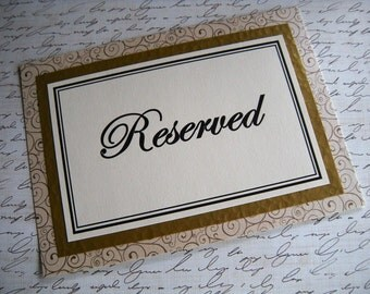 Two 5x7 Flat Printed Reserved Wedding Reception Table Signs in Gold Swirl and Ivory - Ready to Ship