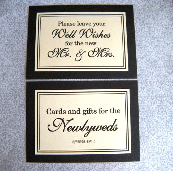 CLEARANCE 5x7 Flat Printed Wedding Sign Package in Black and Cream - Cards and Gifts for the Newlyweds and Wedding Guest Book