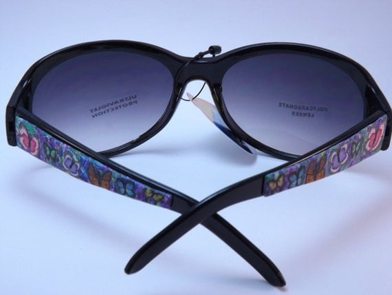Handcrafted Polymer Clay Embellished Sunglasses, Colorful Butterflies