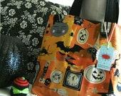 SALE! Cotton Tote Bag Knitting Bag Work Bag Halloween Bag