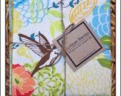 Hummingbirds Floral Reversible Cloth Lunch Napkin Set