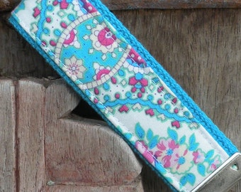 READY TO SHIP-Beautiful Key Fob/Keychain/Wristlet-Kylee on Turq