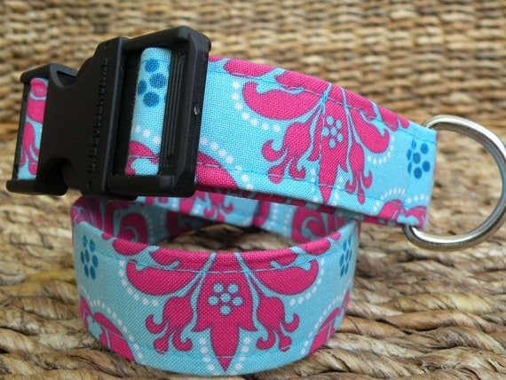 Reserve Listing for Kaitlin Gilpatrick-(2) Large Dog Collars-Cotton Candy and Blue/Green Paisley