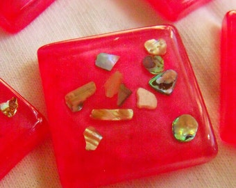 Abalone Resin 25mm Square Cabs Hot Pearly Pink Paua Abalone Sprinkles 6 Pcs