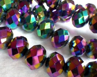 Rainbow Electroplated 14x10mm Fire Polished Rondelle Beads 10 Pcs