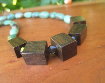 Turquoise Reclaimed Wood Necklace -  Edgy Contempary Holiday Sparkle Green Silver Grey - Geometric Stone Gemstone - Luxe Luxury Boho Jewelry