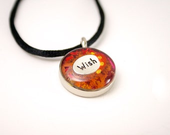 Wish Charm Necklace Red and Orange Resin