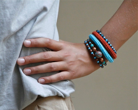 Wrap Crochet Cuff Bracelet in Turquoise Blue, Rusty Brown and Chocolate Brown
