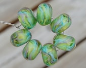 Spring Green - Set of 7 Encased Lampwork Beads - Dan O Beads
