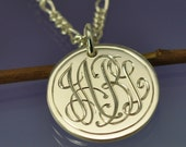 Personalised Monogram Initial Pendant. Sterling Silver