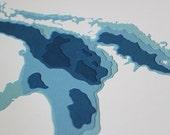 Lake Huron in Your Choice of Color - original 8 x 10 papercut art