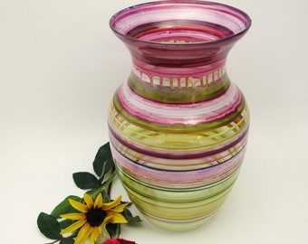 Hand Painted Glass Vase-Red- Green- White Striped- Original Home Decor