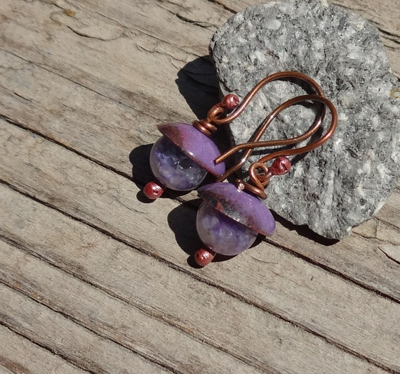 SALE Handmade Enamel on Copper and Charoite Stone Earrings, Purple, Violet, Lavender, Forged Rustic Copper, Enamelled Copper Earrings (G166)