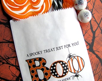 Halloween Favor Bags, BOO, Hallowwen Candy bags, Halloween Favors, spider favor bags, Personalized candy bags, Favor bags, Treat bags