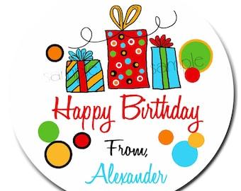 Birthday Gift Stickers, Littlebeane Birthday Gifts, NEW BOY COLORS, Children, Kids, Favor, Polka Dots, Set of 12