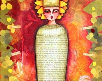 Egyptian Art Print, Giclee, Girl Art, Whimsical Folk Art, Text Mixed Media Illustration Art, 5 x 6.5, Mummy, Original Art Print, Red Orange