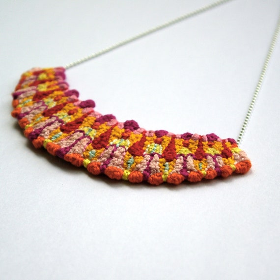 REDUCED - Candy Pop Rays, Hand Embroidered Necklace