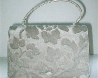 Nettie Rosenstein Brocade Purse - Vintage 1960s Pearl Gray Velore and Kid Leather Handbag - Made in Florence Italy