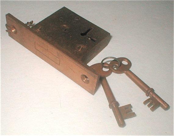 Brass door or drawer lock with keys complete set for 1930s brass door handles