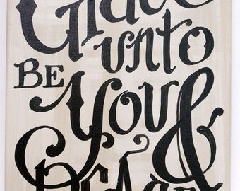 Grace Be Unto You Original Painted Canvas - custom quote - Painted Scripture - Painted Lyric