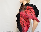 Red and Black Felted Scarf Wool and Silk Scarf Hand dyed - Red sakura scarf