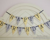 Boy First Birthday Fabric Banner - Pennant style in yellow and grey chevron with navy accents - LISTING is for ONE piece/letter