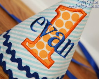 Boys First Birthday Party Hat - Aqua and white stripes with orange dots and royal blue accents - Free personalization
