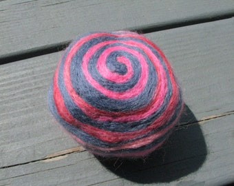 One multi-colored felted pin-cushion, Blue and Pink
