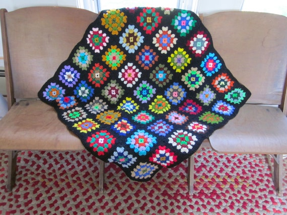 Vintage Granny Square Crochet Lap Throw Blanket