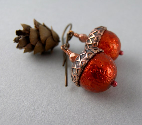 Pumpkin Autumn Acorn Earrings with Free Shipping