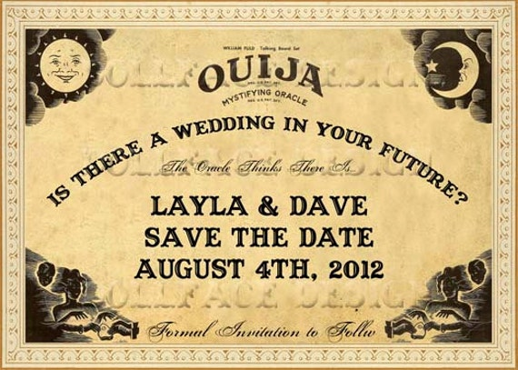 Vintage Sepia Ouija Board Printable Save The Date Cards – Halloween Wedding Save the Dates