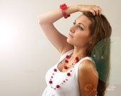 Long necklace and bracelet set - 'Passion red'