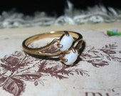 Vintage Costume Double Opal Ring