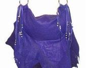 Ready To Ship!!! Leather Handbag Fringe Deerskin PURPLE FLAIR Purse Natural Buckskin Ruffle Custom Leather Handmade by Debbie Leather