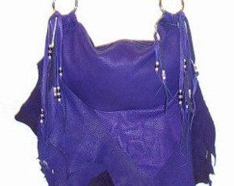 PURPLE Leather Handbag Fringe Deerskin PURPLE FLAIR Purse Natural Buckskin Ruffle Custom Leather Handmade by Debbie Leather
