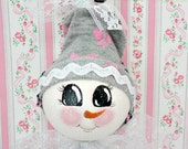 Snowlady Makeup Lightbulb Ornament with French Poodle and Pink Bow Stocking Hat, CSSTeam. ECS