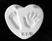 Valentine's Day Baby Heart Shaped Hand and Footprint OUTPRINT 3D Plaque-