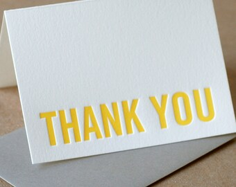 Letterpress Thank You Cards : Sunshine Yellow Modern Block Thank You Notes - box of 75 small folded cards w envelope color choice