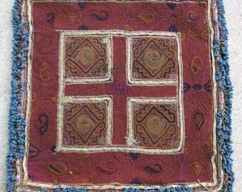Afghanistan: Vintage Embroidered Zazi Doily, Item 133