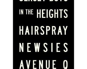 Broadway Musicals Typographic Bus Roll Art School Subway Art Print 11.75x36
