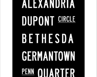 Washington DC Subway Art Print 11.75x36