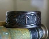 Leather Wristband Celtic - Rune TYRWAZ Leather Wristband- TYR Leather Wristband- Leather Wristbands-Rune Runes Runestone Wristband Leather