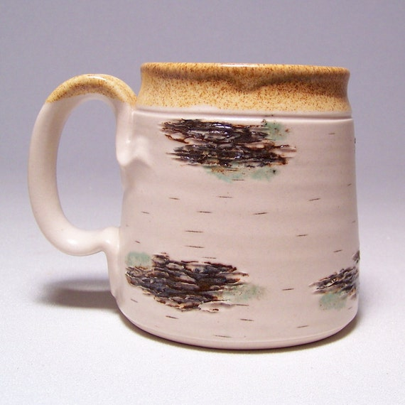 Birch Coffee Mug on White Stoneware Limited Series 190 (microwave safe)12 ounce