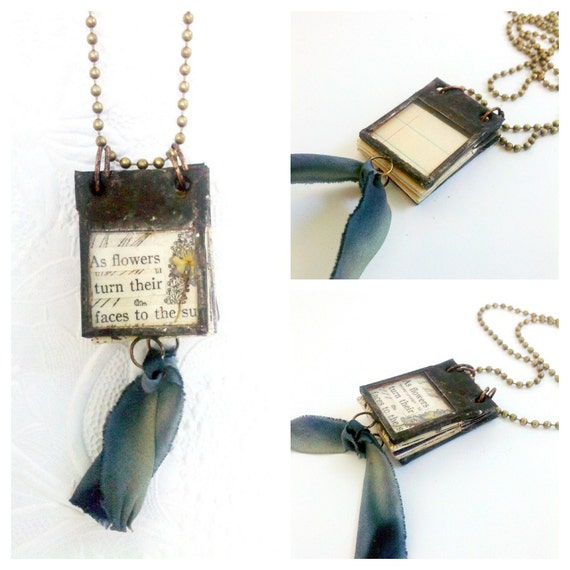 Miniature Book Pendant Glass Journal Tiny Poem Book Charm Necklace Collage Art Journal Jewelry Gift For Writer Gift for Poet
