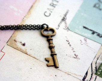key. necklace. in brass ox jewelry