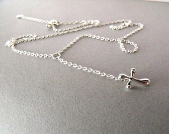 Rosary style chain necklace with 925 silver cross pendant